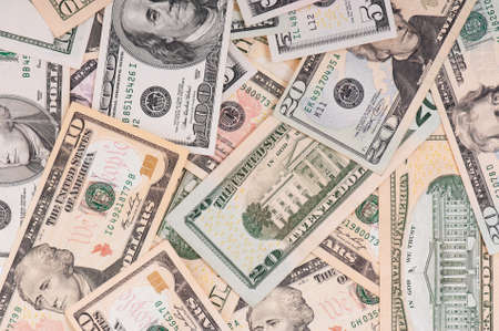 Money background of $5-$100 banknotes Stock Photo - 8212008