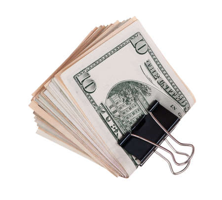 Pack dollars with clip isolated on white background Stock Photo - 8212001