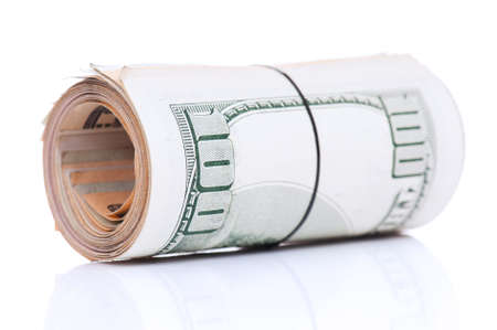 Roll of banknotes isolated on a white background Stock Photo - 8211994