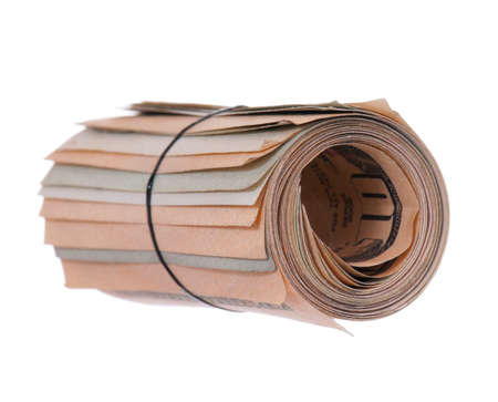 Roll of banknotes isolated on a white background Stock Photo - 8211991