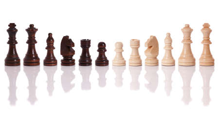 A set of black and white chess pieces isolated on a white background photo