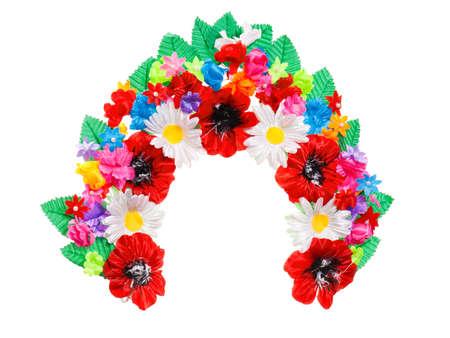 Traditional Ukrainian national wreath on white background photo