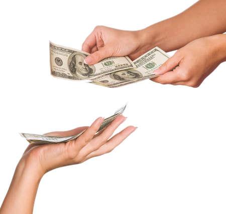 give money: Hands holding money dollars isolated on white background