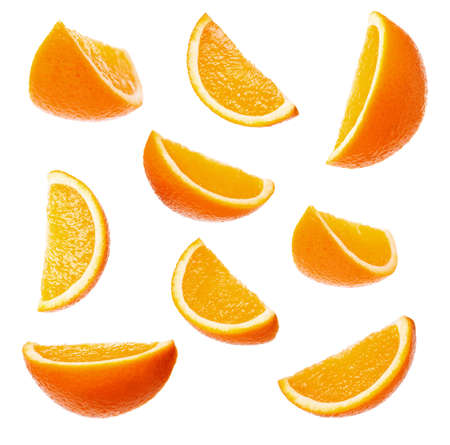 Collection perfect orange slices isolated on white background photo
