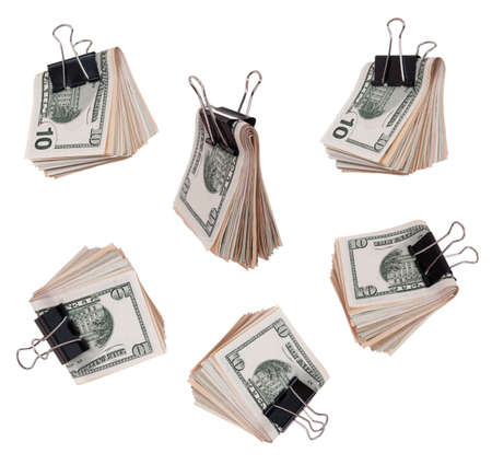 Pack dollars with clip isolated on white background photo