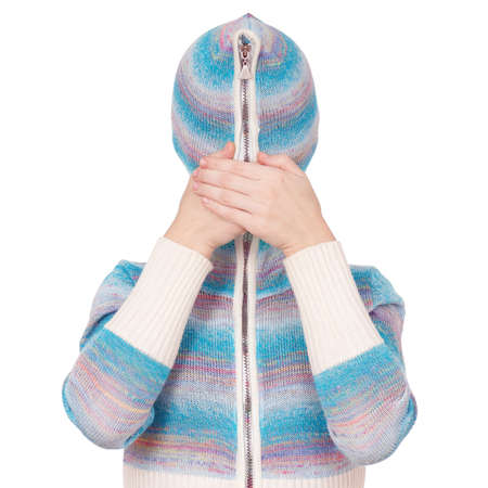 cardigan: Portrait of a girl in cardigan with a hood with no face