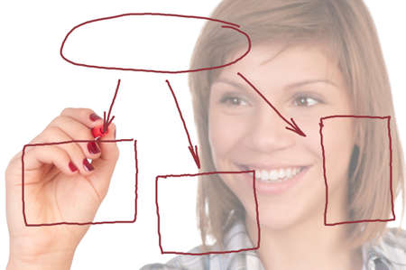 Portrait of a teenage girl with red marker. Focus on marker and diagram. Isolated on white background. photo