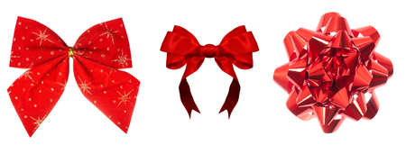 Set of beautiful bright red bows isolated over white background photo