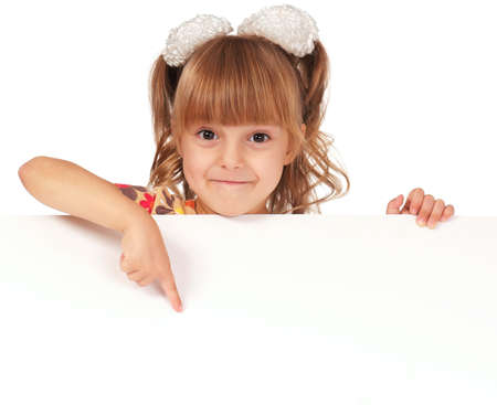 blank faces: Smiling little girl holding empty white board Stock Photo