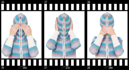 Girl in hood with no face. See no evil, hear no evil, speak no evil. photo