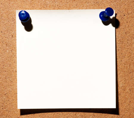 Note paper with push pins on noticeboard Stock Photo - 8966375