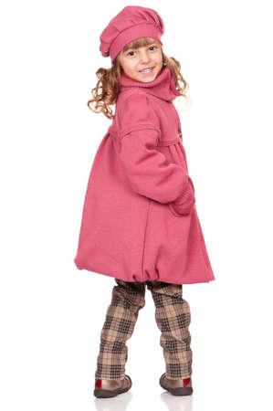 pretty little girl: Full-frame pretty little girl. Isolated on white background. Stock Photo