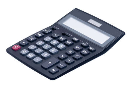 Big black calculator isolated on white background photo
