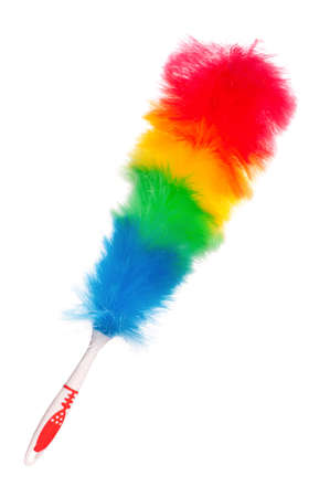 duster: Soft colorful duster with plastic handle isolated on white background