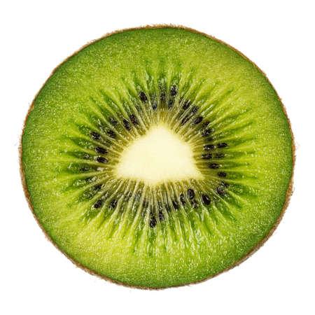 backlit: De helft van vers kiwi geïsoleerd op witte achtergrond