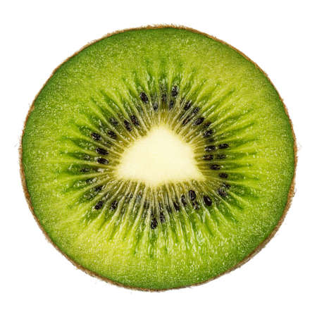 backlit: Half of fresh kiwi isolated on white background Stock Photo