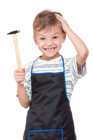 Little boy with tools - isolated on white background Stock Photo - 10051452