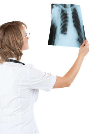 Medical doctor analysing x-ray photography isolated on white background Stock Photo - 10051433