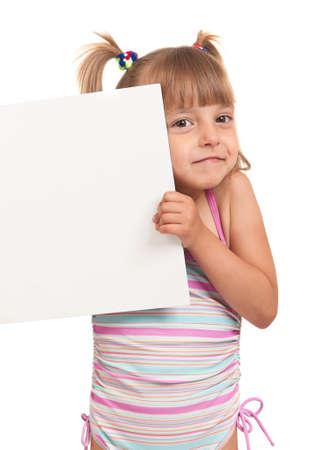 Little beautiful girl wearing pink swimsuit holding empty white board isolated on white background Stock Photo - 10051486