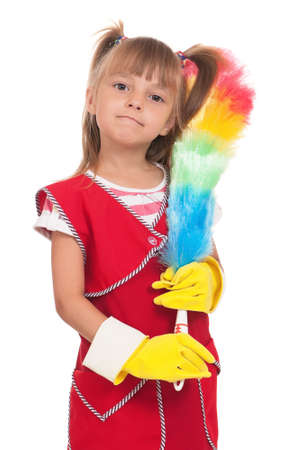 domestics: Portrait of beautiful little housewife with colorful duster isolated on white background. Stock Photo