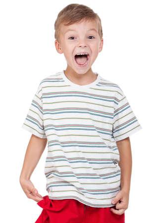 Portrait of emotionally kid. Funny little boy isolated on white background. Beautiful caucasian model. Stock Photo