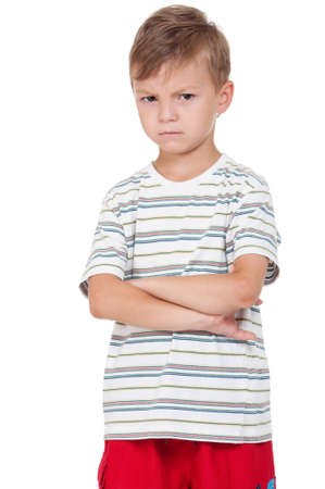 children sad: Portrait of emotionally kid. Funny little boy isolated on white background. Beautiful caucasian model. Stock Photo