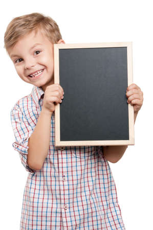 Boy with blackboard photo