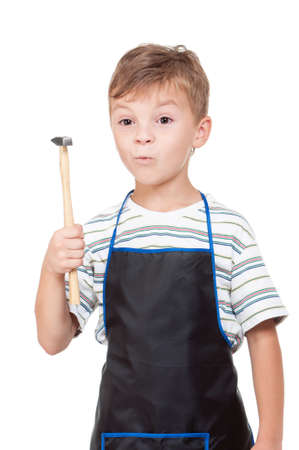 learning series: Little boy with tools - isolated on white background Stock Photo