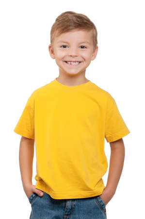 t shirt: Portrait of happy little boy over white background