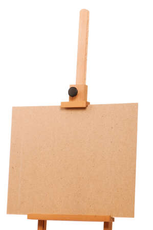Wooden easel for drawing isolated on white background photo