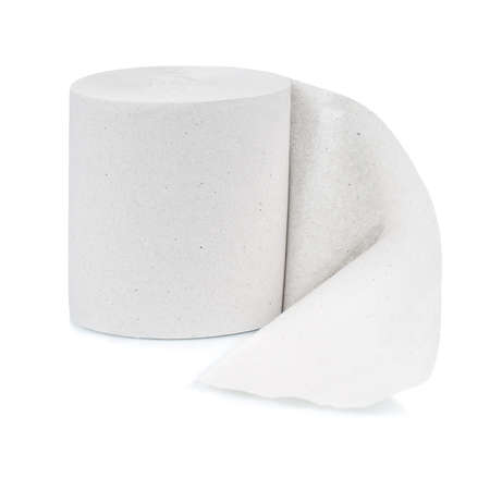 Single roll of toilet paper isolated on white background Stock Photo - 10538770