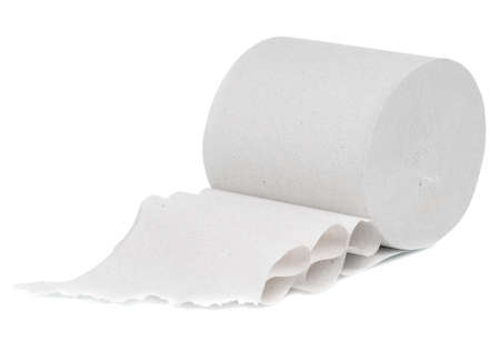 Single roll of toilet paper isolated on white background Stock Photo - 10538776