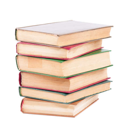 Pile of old dirty books on a white background Stock Photo - 10562404