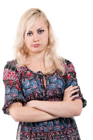 Porträt der jungen attraktiven Mädchen beleidigt - isoliert auf weißem Hintergrund