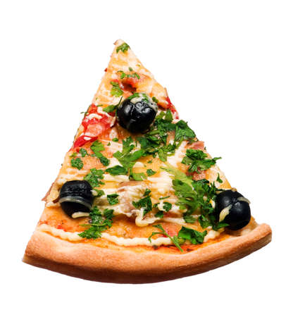 Cut off slice pizza isolated on white background photo