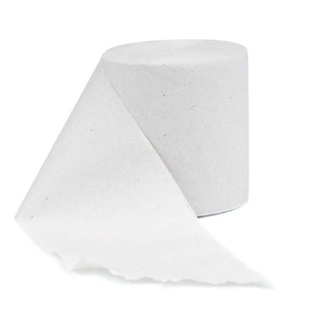 Single roll of toilet paper isolated on white background Stock Photo - 10562290