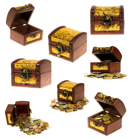 treasure box: Wooden treasure chest of money over white background