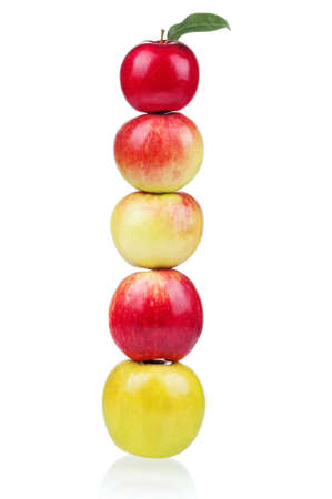 Fresh ripe red and yellow apples on white background photo