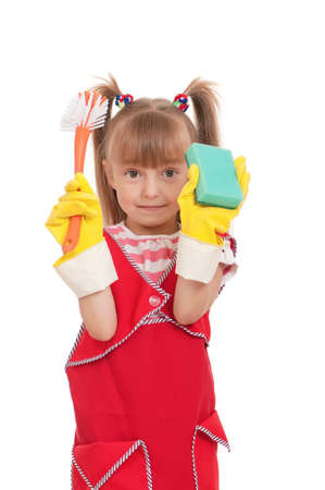 chore: Portrait of beautiful little housewife with sponge isolated on white background.