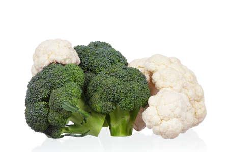 head of cauliflower: Fresh ripe broccoli piece and cauliflower cabbage vegetables on white background