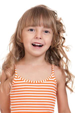 Portrait of emotional Kind. Lustige kleine Mädchen isoliert auf weißem Hintergrund. Schöne caucasian Modell. Standard-Bild