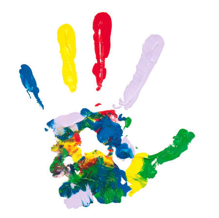 Close up of colorful hand painted isolated on white background Stock Photo - 11328722