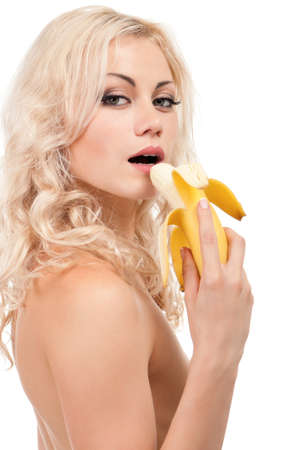 ladies bust: Attractive young girl with banana - isolated on white background