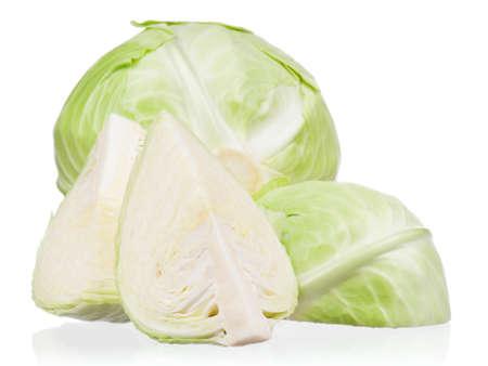 half stuff: Fresh green cabbage vegetable on white background