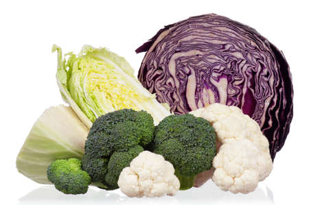Fresh green, red, broccoli, cauliflower and Chinese cabbage vegetables on white background photo