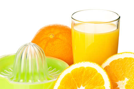 Glass of fresh orange juice, juicer and orange fruits on white background photo