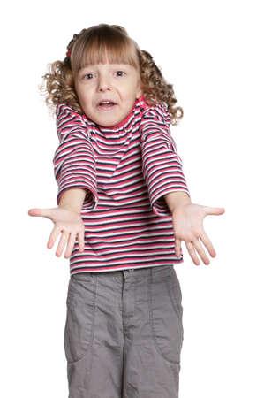 Portrait of emotionally pretty little girl on white background Stock Photo - 11479017