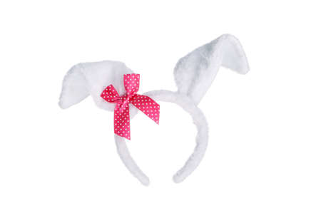 Easter bunny ears with red bow isolated on white background photo
