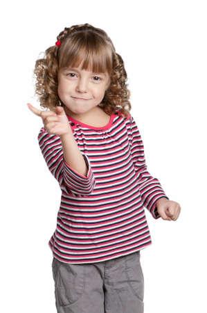 Portrait of emotionally pretty little girl on white background photo