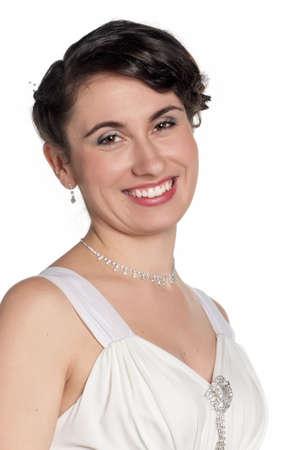 Portrait of happy bride on white background Stock Photo - 11866301